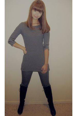 blue no brand shirt - gray no brand jeans - black no brand boots