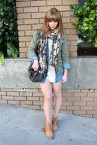 white vintage dress - army green Jcrew jacket - light brown Topshop boots