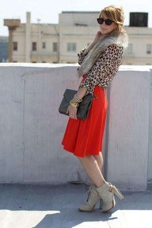 carrot orange wood buttoned Betsey Johnson dress