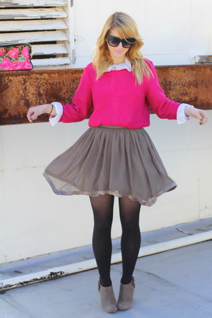heather gray chiffon vintage skirt