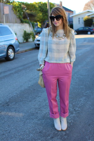 bubble gum trouser vintage pants - ivory ankle bootie Rachel Comey shoes