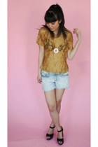 mustard lace vintage top