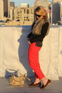Red-trouser-anthropologie-pants-dark-brown-leopard-loafer-dolce-vita-shoes