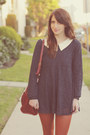 Navy-lace-babydoll-sheinside-dress-dark-brown-ankle-everybody-boots