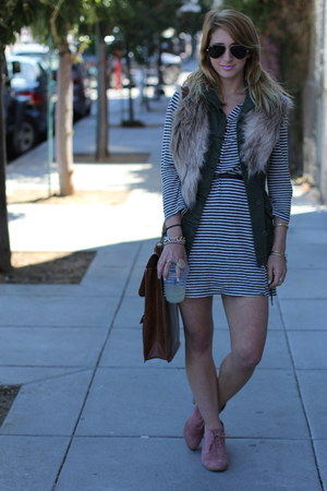 teal striped Joie dress - brick red desert booties Dolce Vita shoes