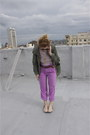 Army-green-trench-primark-coat-amethyst-purple-pink-vintage-pants-red-stripe