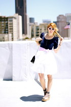 navy bow button Betsey Johnson top - white pastel dots Betsey Johnson dress