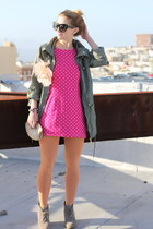 hot pink polka dot vintage dress - army green trench Primark jacket