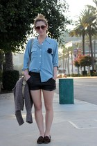 black leather Urban Outfitters shorts - dark brown Dolce Vita shoes