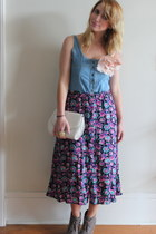 purple bright floral vintage skirt - sky blue vintage dress