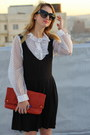 Black-vintage-dress-white-vintage-blouse