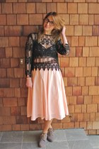 peach high waisted vintage skirt - heather gray lace ups Rachel Comey shoes