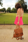 Peach-polka-dot-forever21-top-light-brown-forever21-bag
