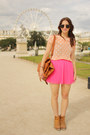 Light-brown-forever21-bag-peach-polka-dot-forever21-top