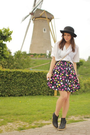 black multi dots vintage skirt - white sheer vintage top