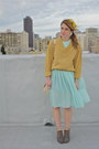 Heather-gray-lace-up-rachel-comey-shoes-aquamarine-sheer-pleated-vintage-dress