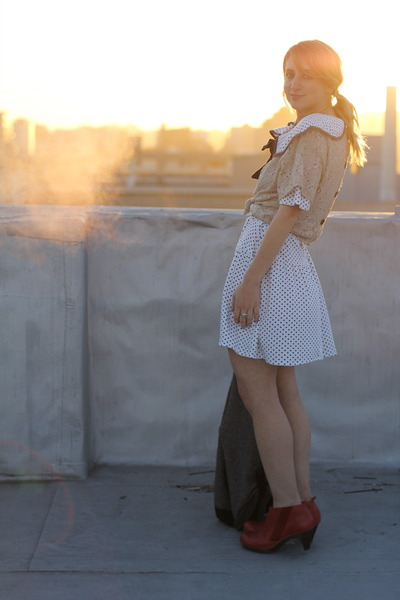 white vintage dress - brick red booties Anthropologie boots