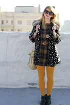 navy faux fur lined Anthropologie coat