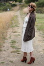 Brown-suede-h-m-boots-crochet-1960s-vintage-dress-dark-brown-rugby-cardigan