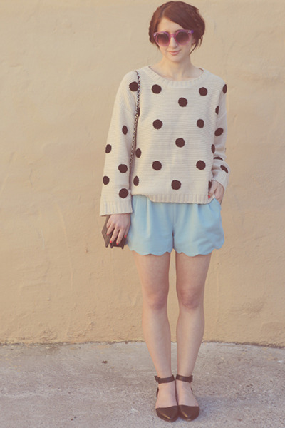 dot Lumiere sweater - ankle strap Topshop shoes - scallop hem Lush shorts