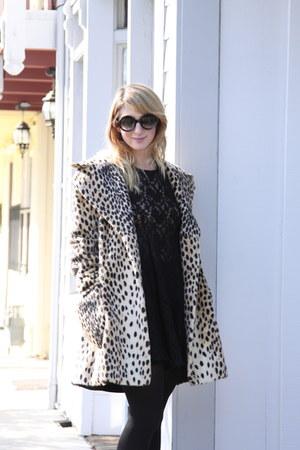 leopard print vintage coat - lace vintage dress