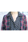 Black-polka-dot-vintage-top-brick-red-plaid-vintage-blazer