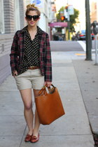 bronze oversized tote Zara bag - brick red plaid vintage blazer