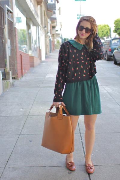 Dark Green Vintage Dresses Light Brown Loafers Vintage