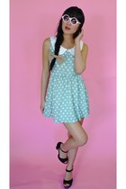 light blue polka dot vintage reconstruction dress