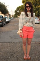 off white checkered vintage top - coral high waist Forever21 shorts