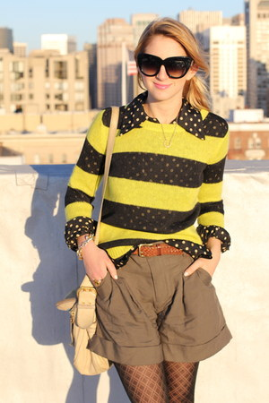 black polka dot vintage blouse - yellow striped neon Gap sweater