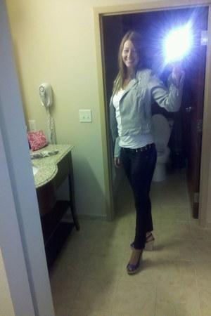 blue wedges shoes - heather gray jacket - white white tee t-shirt