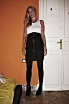 H&M skirt - vintage top - tights - H&M shoes