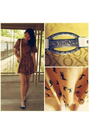 XOXO bag - next dress - jazz flats