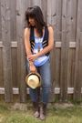 Brown-spring-boots-blue-garage-jeans-yellow-ardene-hat-blue-american-eagle