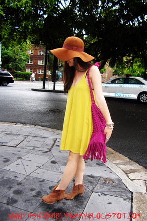 River Island boots - mustard Showpony dress - asos hat - sass & bide bag