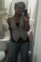 salvation army vest - Walmart top - thrifted express jeans - ipod
