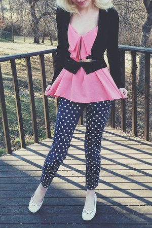 pink bow top top - black Forever21 cardigan - pants - white BCBG wedges