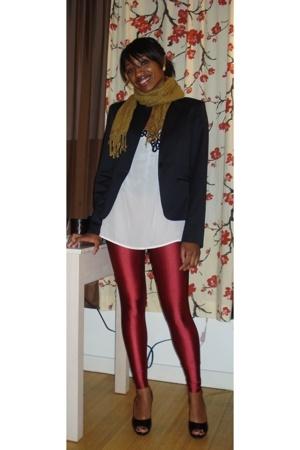 gold uo scarf - express black blazer - uo ivory & silk top - aa burgandy tights
