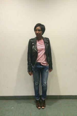 navy Zara jeans - black leather Zara jacket - red JCrew shirt
