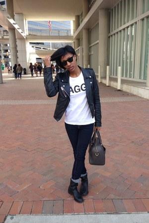 navy Zara jeans - black Gap boots - black leather Zara jacket