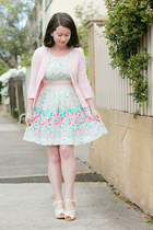 aquamarine modcloth dress - light pink SES cardigan