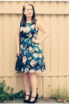 floral print Review dress - Mimco bag - mary-jane zu heels - bow clip Mimco acce