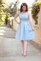 bubble gum swedish hasbeen heels - light blue handmade dress