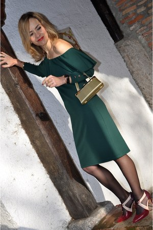 forest green Almatrichi dress - clutch gold TUL VINTAGE purse