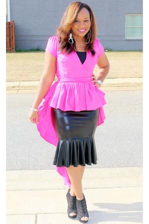 hot pink pink SB Boutique top - black faux leather Pretty Pieces Boutique skirt