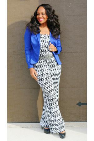 Fashion Store jumper - cobalt blue sears blazer - bling Body Central belt