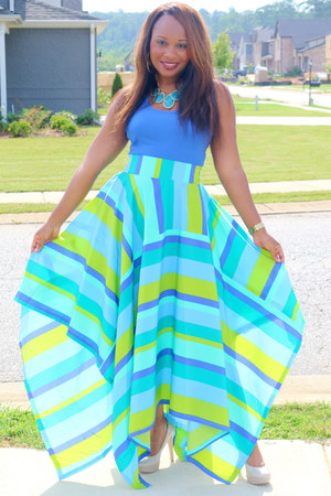sky blue multi colored SB Boutique skirt - blue blue Walmart top