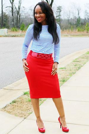 red Express skirt - blue and white JCPenney shirt - red Steve Madden heels