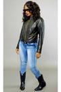 Black-cowboy-belks-boots-denim-ross-jeans-black-sears-jacket